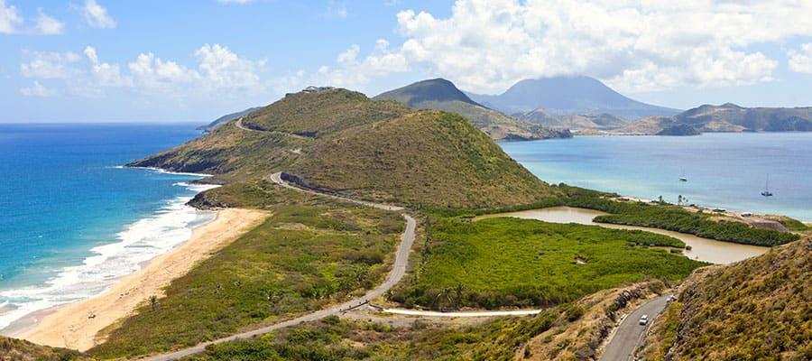 Viaja hasta bellísimas vistas en San Cristóbal y Nieves