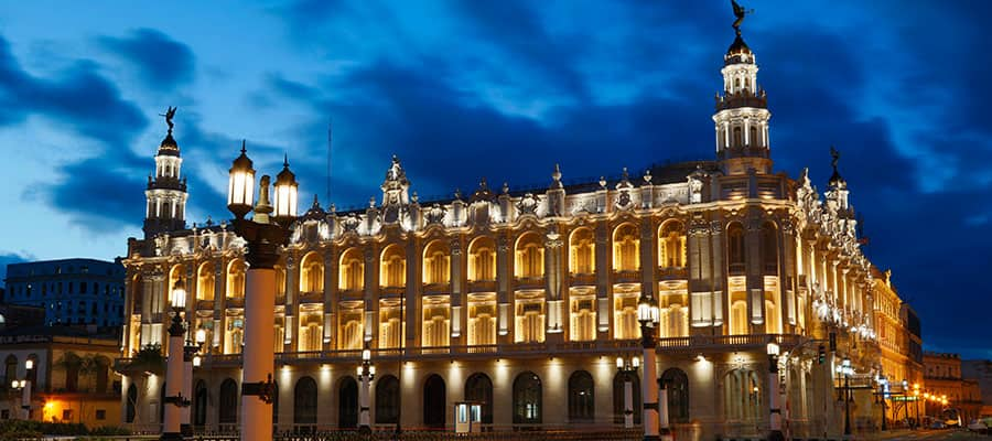 See the historic grandeur of Havana, Cuba at night.