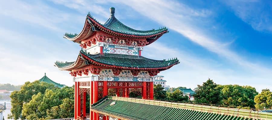 Maravilhe-se com a complexidade da arquitetura chinesa.