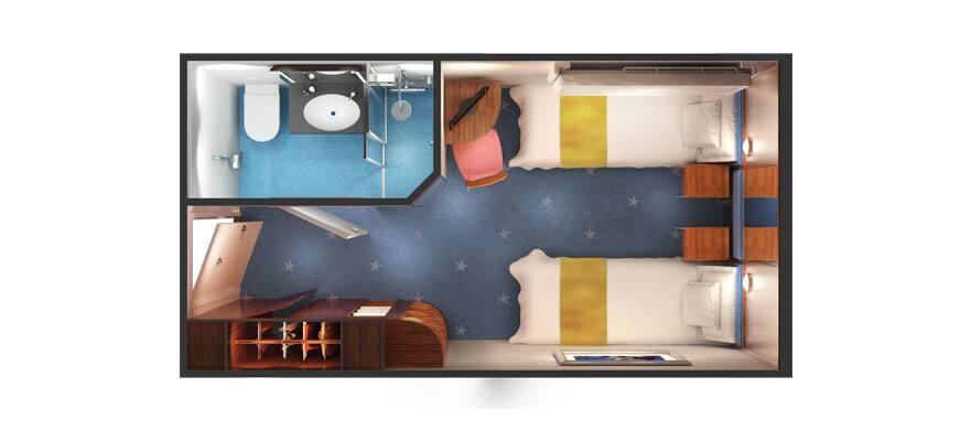 Plan de la cabine intérieure au milieu du navire