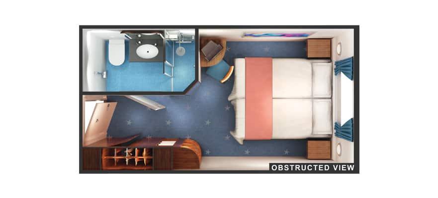 Plan de la cabine extérieure avec vue obstruée