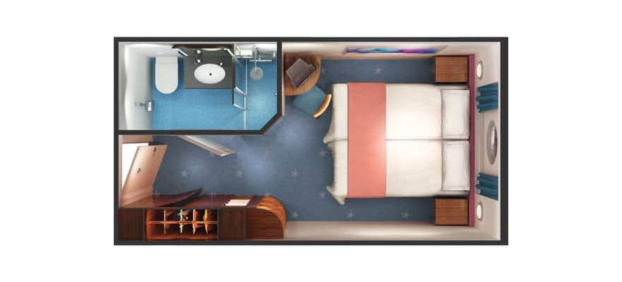 Plan de la cabine extérieure avec hublot