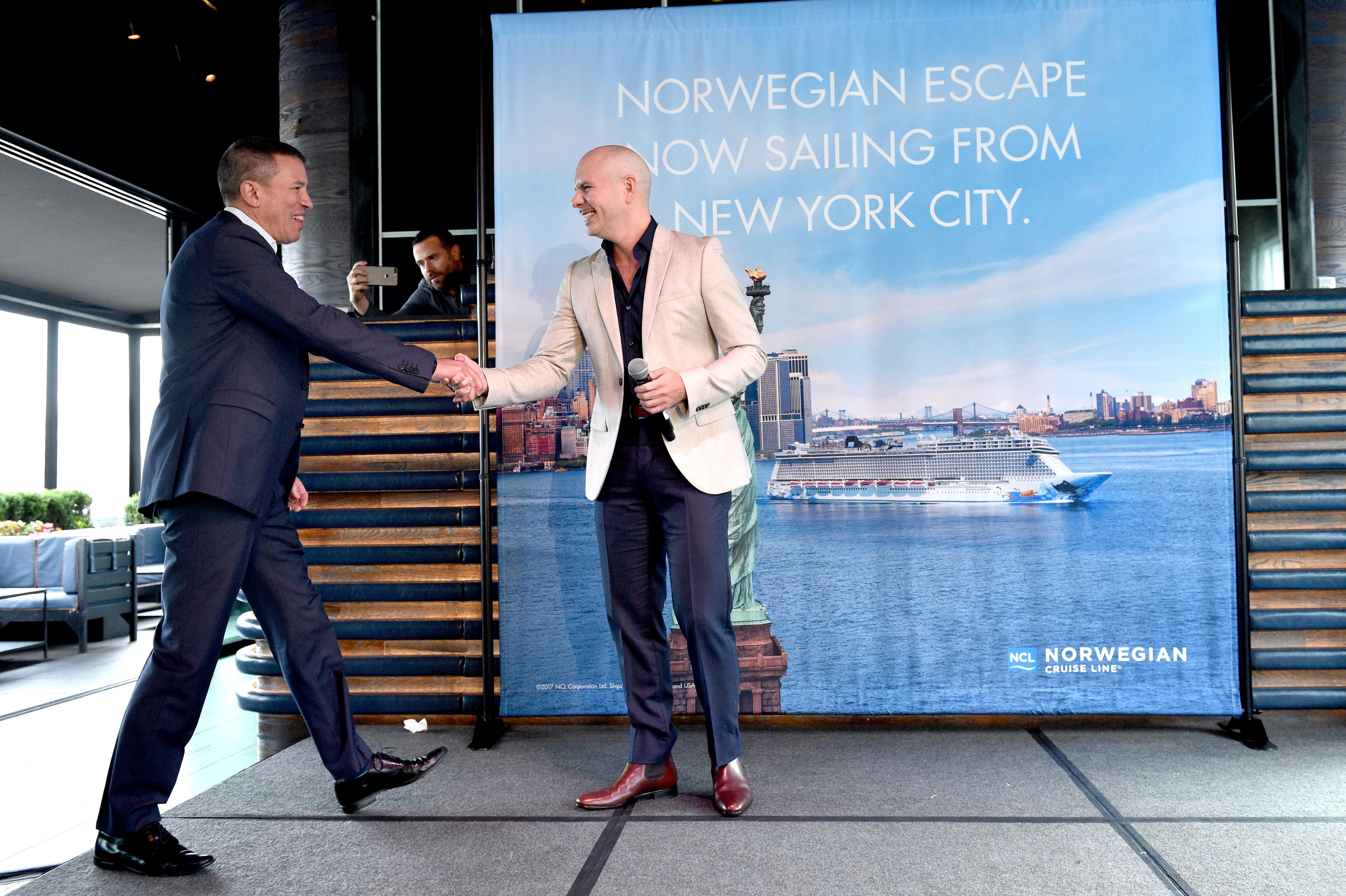 Pitbull and NCL President Andy Stuart