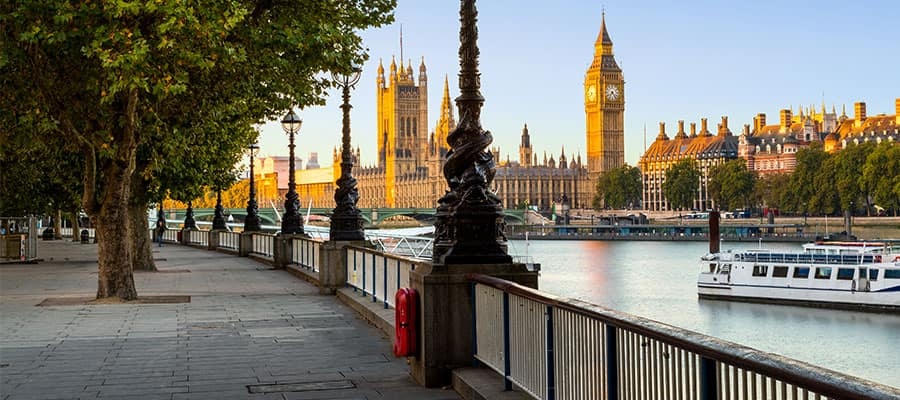 South Bank of River Thames in London