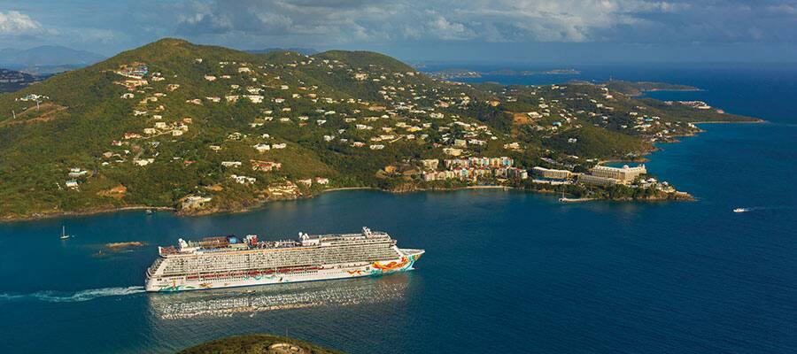 Norwegian Getaway cruising St. Thomas