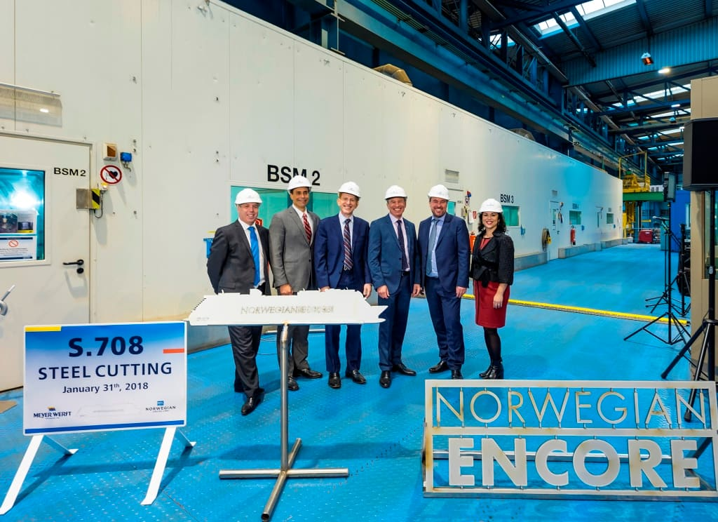 Norwegian Encore Steel Cutting Ceremony