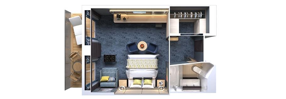 Concierge Family Suite with Balcony Floorplan