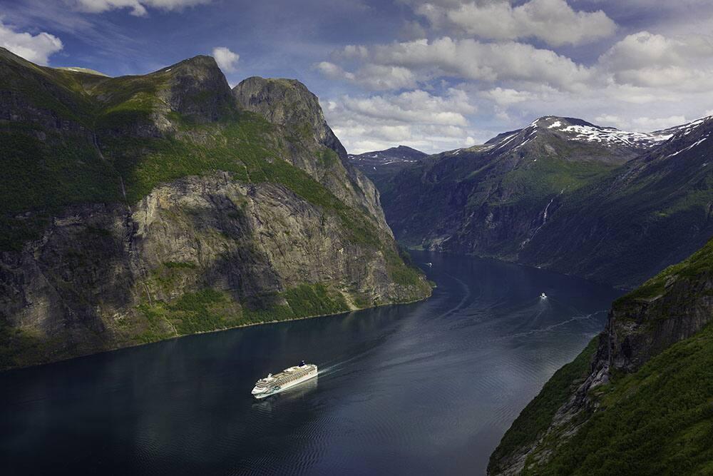 Norwegian Jade Sails Through Norwegian Fjords