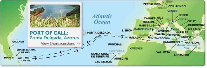 mappa crociera transatlantica
