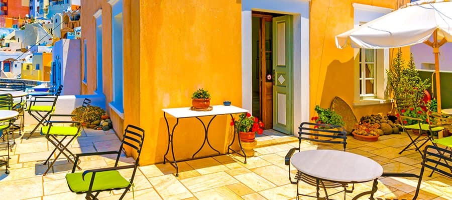 Santorini Cafe on your Europe cruise