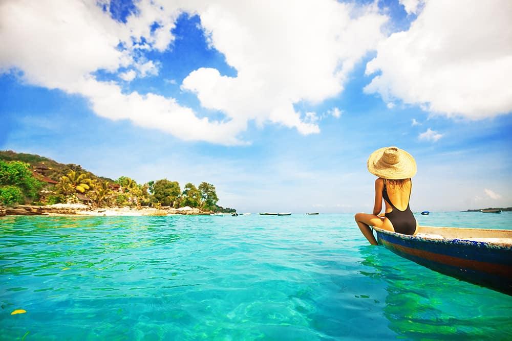 Pristine blue beach waters in Bali
