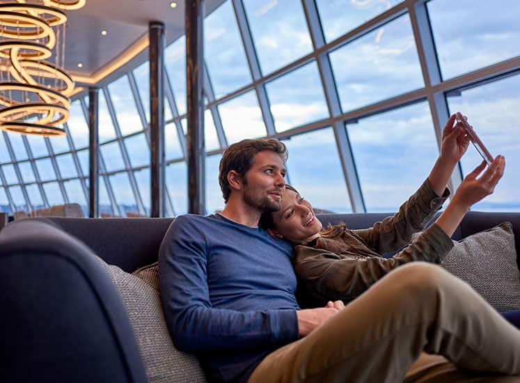 Snap a Selfie in the Observation Lounge on Norwegian Bliss