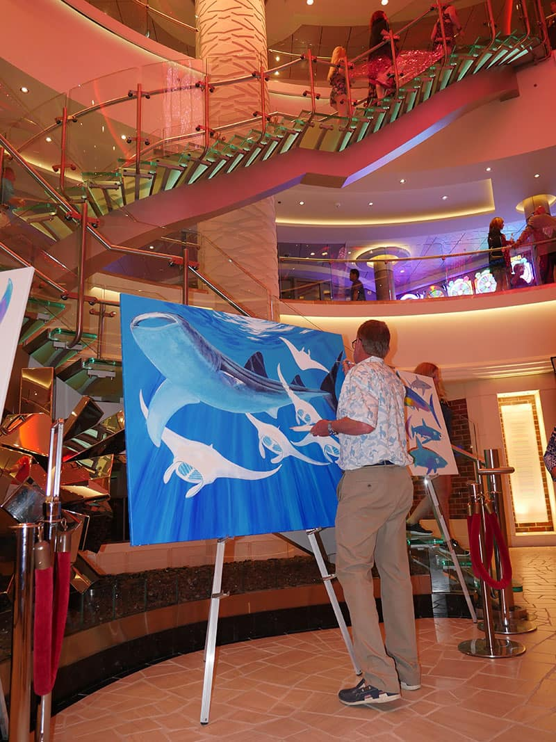 Guy Harvey Paints on Norwegian Escape