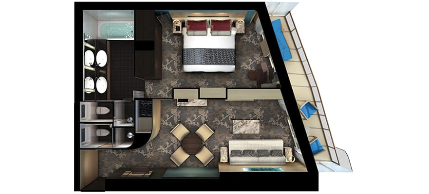 Floor plan The Haven Aft-Facing Penthouse with Balcony
