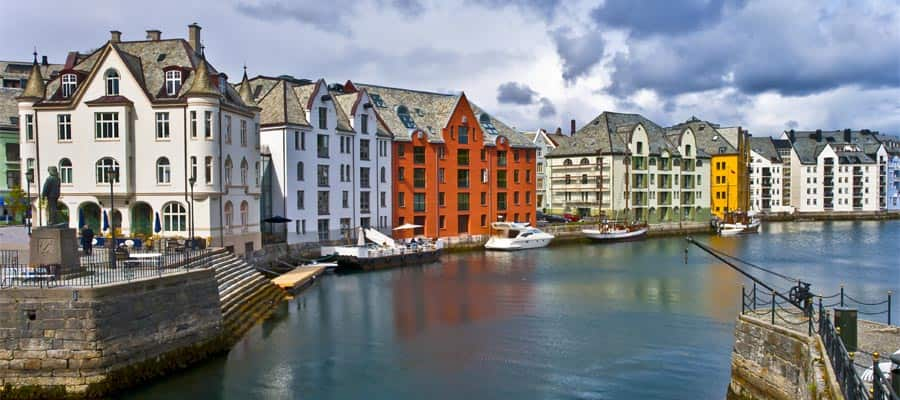 Centre city of Alesund on your Alesund cruise