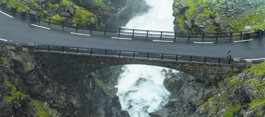 Stunning views at Stigfossen waterfall when you cruise to Alesund