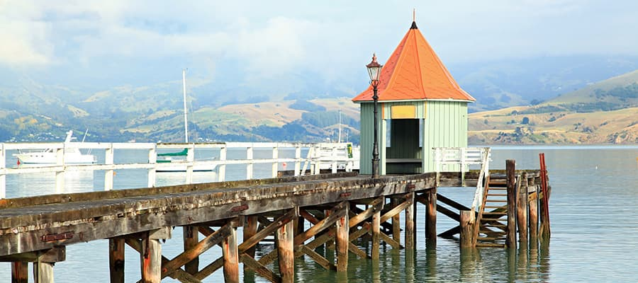 Motor boat jetty on cruises to Akaroa