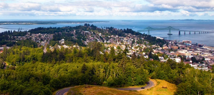 Bird's eye view of Astoria while cruising the Pacific Coastal