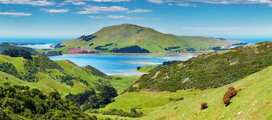 Vista costeira de Dunedin