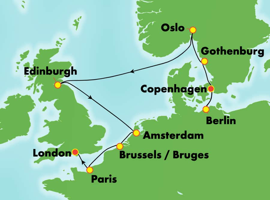 10-Day Europe from Copenhagen to London: France, Germany & Norway