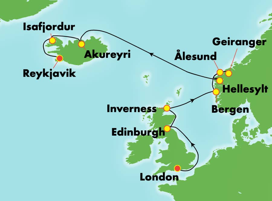 11-Day Iceland from London to Reykjavik: Norway & Scotland