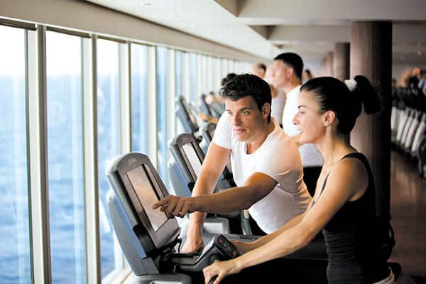 Stay in shape while cruising by taking advantage of gym facilities and fitness classes