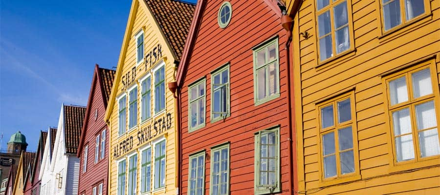 Cruise to the colorful buildings of Bergen