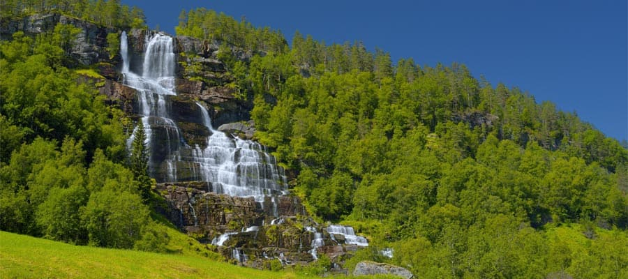 Tvinde waterfall on your Bergen cruise