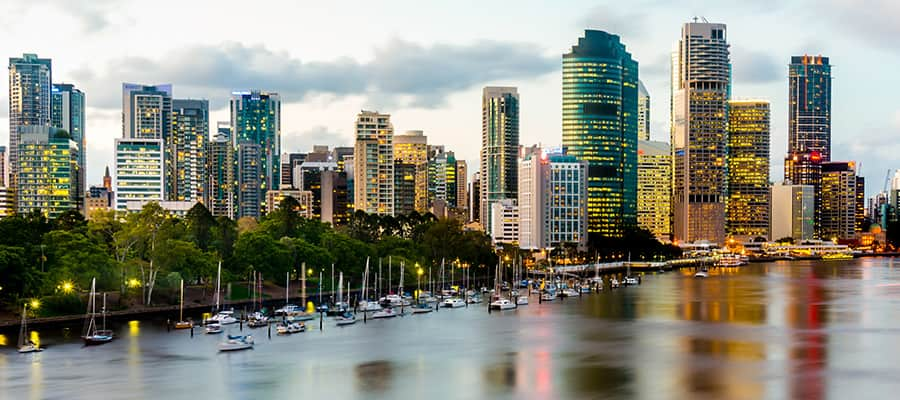 Cityscape from Kangaroo Point  on Brisbane Cruises