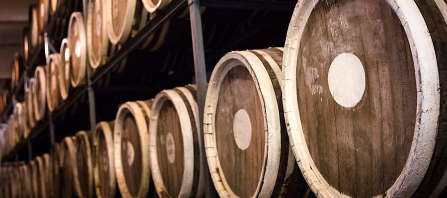 Barrels of plum brandy on Burnie Cruises