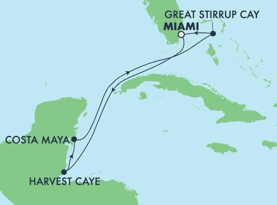 5-Day Caribbean Round-trip Miami: Harvest Caye & Costa Maya