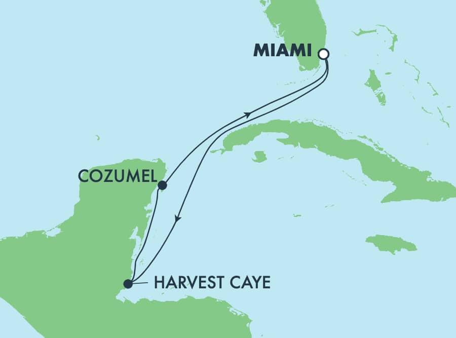שייט הלוך ושוב בן5 לים הקריבי ממיאמי: הרווסט קיי וקוסומל