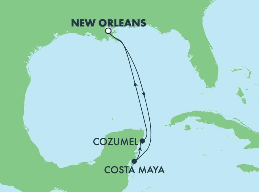 שייטהלוך ושוב בן5 ימיםלאיים הקריבייםמניו אורלינס: קוסומל וקוסטהמאיה