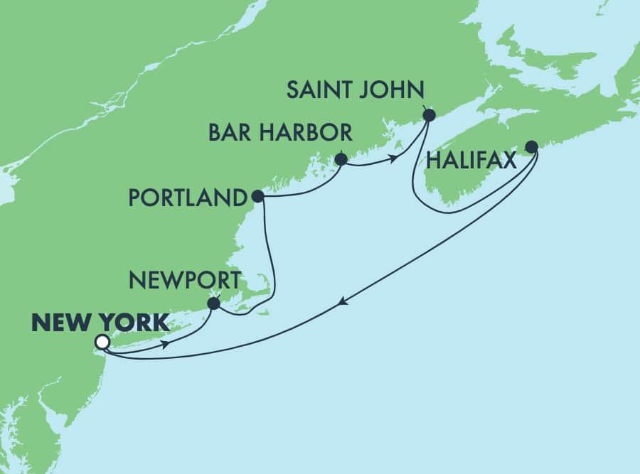 Canadá y Nueva Inglaterra, viaje de ida y vuelta desde Nueva York:Newport y Portland, 7 días