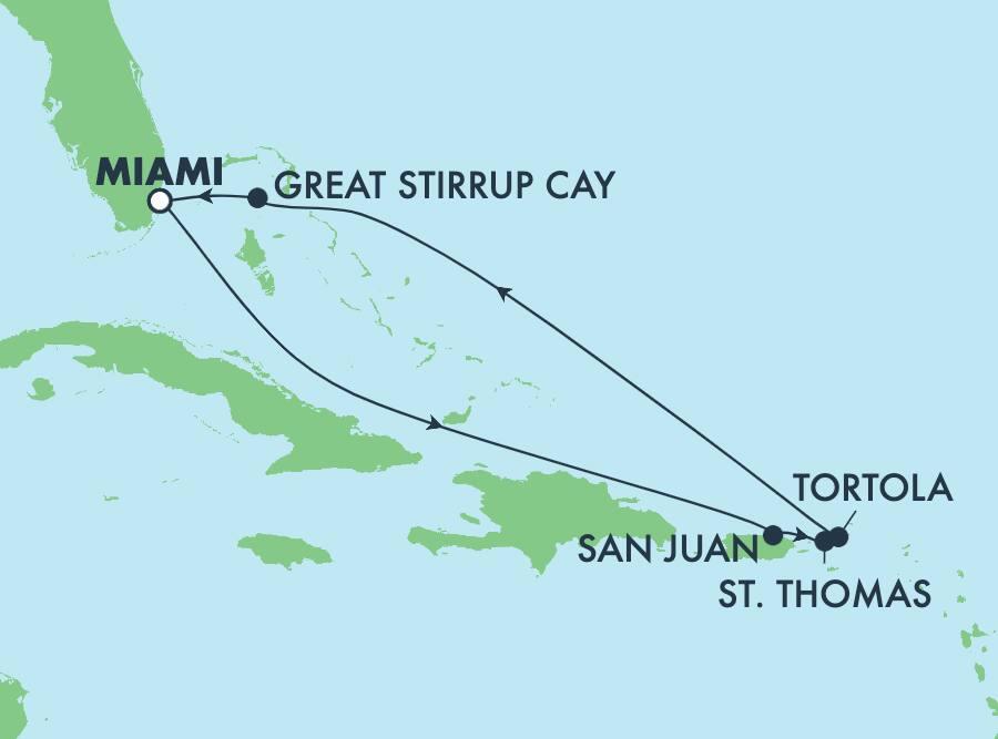 שייטהלוךושובבן7 ימיםלאייםהקריבייםממיאמי: סן חואן, סנט תומס וגרייט סטירופ קיי