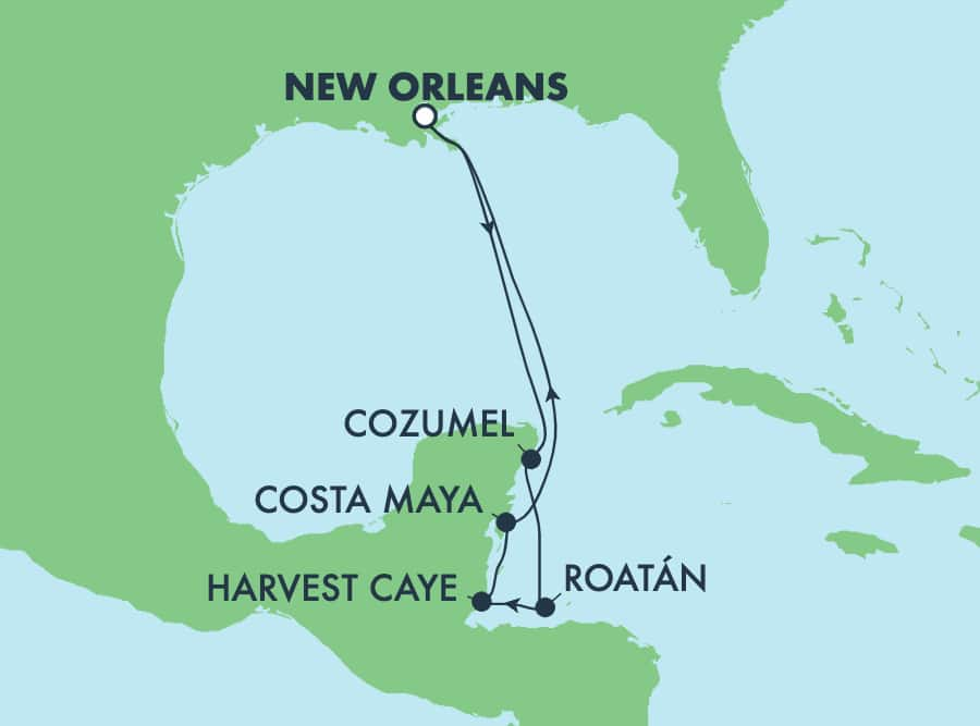 7-Day Caribbean Round-trip New Orleans: Harvest Caye, Cozumel & Roatan