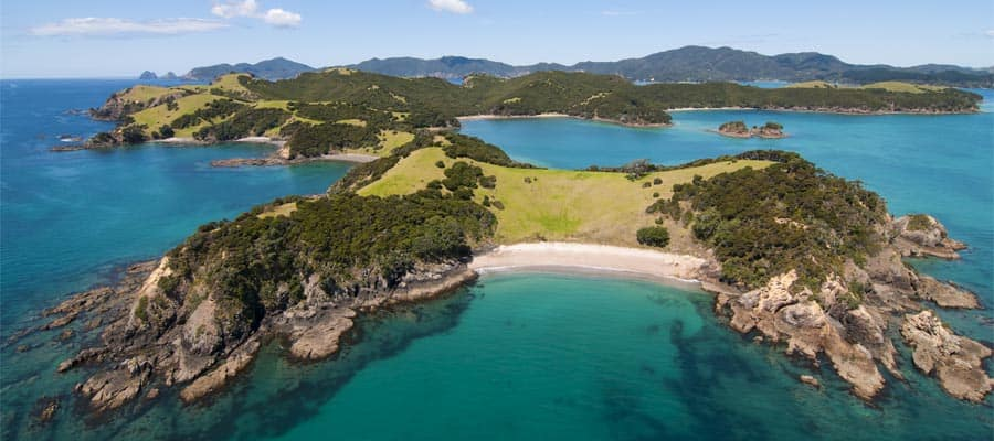 Aerial of Urapukapuka Island on Cruises to Bay of Islands