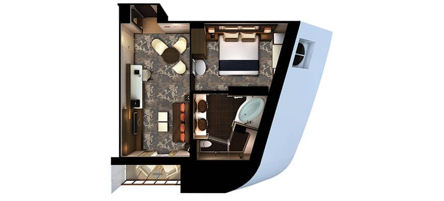 Plan de la suite The Haven - cabine communicante
