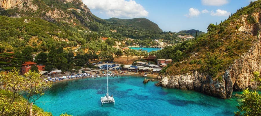 Cruise to Europe and see beautiful Paleokastritsa Bay