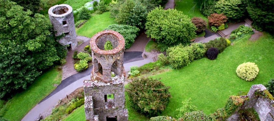 Overhead aerial view of Blarney castle's towers