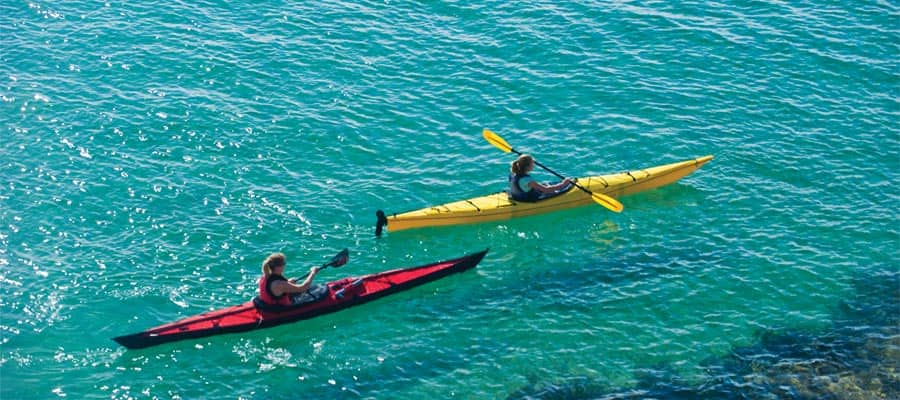 Kayak through crystal clear waters in Cabo San Lucas