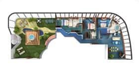 Norwegian Dawn cruise ship Garden Villa floorplan.
