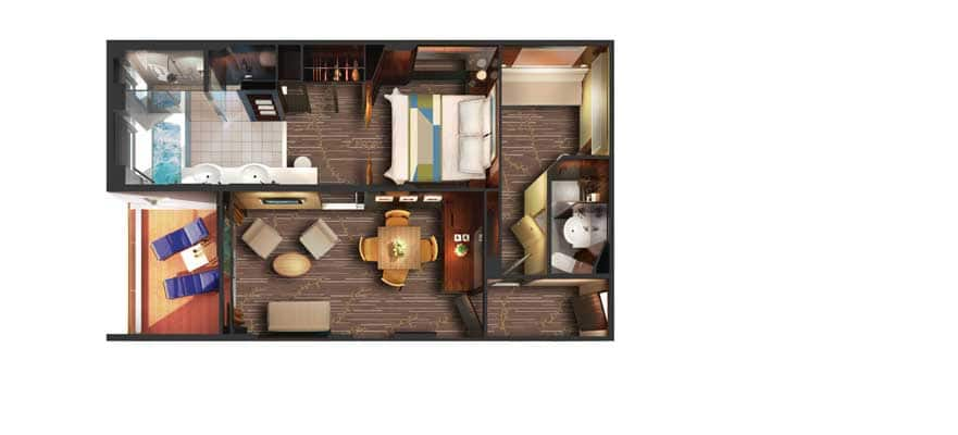 Floor plan 2-Bedroom Deluxe Family Suite with Balcony