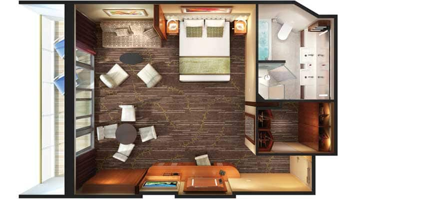 Family Suite with Balcony floor plan. Norwegian Dawn Cruise Ship Deck Plans   Norwegian Cruise Line