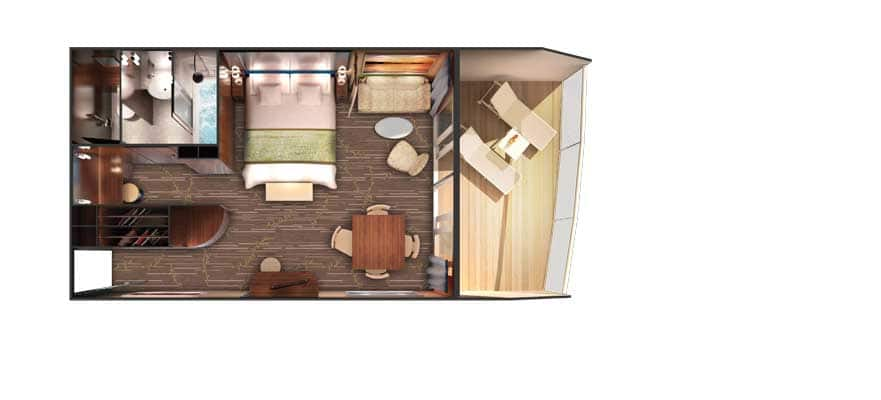 Floor plan Forward-Facing Deluxe Penthouse with Large Balcony