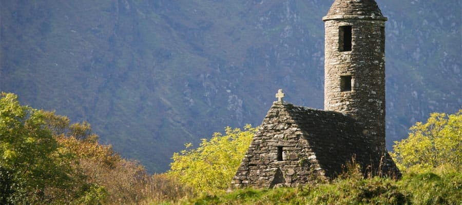 Ancient church in Glendalough on your Europe cruise