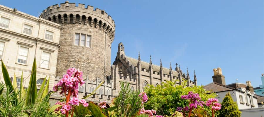 Dublin Castle from Dubh Linn gardens on your Dublin cruise