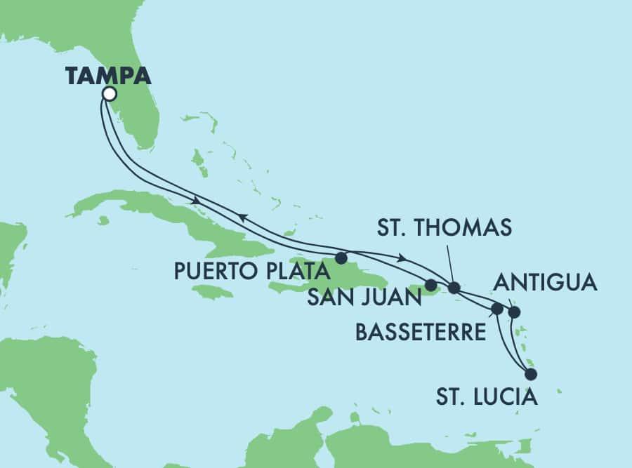 שייט בן11 ימיםהלוך ושוב לאיים הקריביים מטמפה: הרפובליקה הדומיניקנית וסן חואן