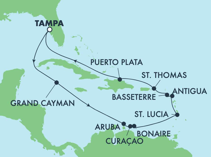 14-Day Caribbean Round-Trip Tampa: Curacao, Aruba & Dominican Republic