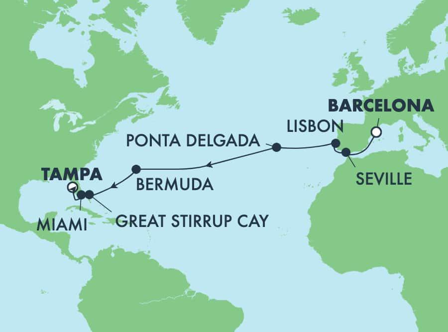 שייט טרנסאטלנטי בן15 מברצלונה לטמפה: איי הבהאמה, ספרד וברמודה